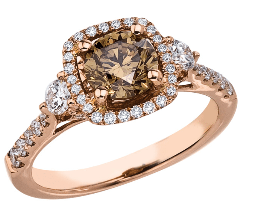 Brown diamond in rose gold ring setting