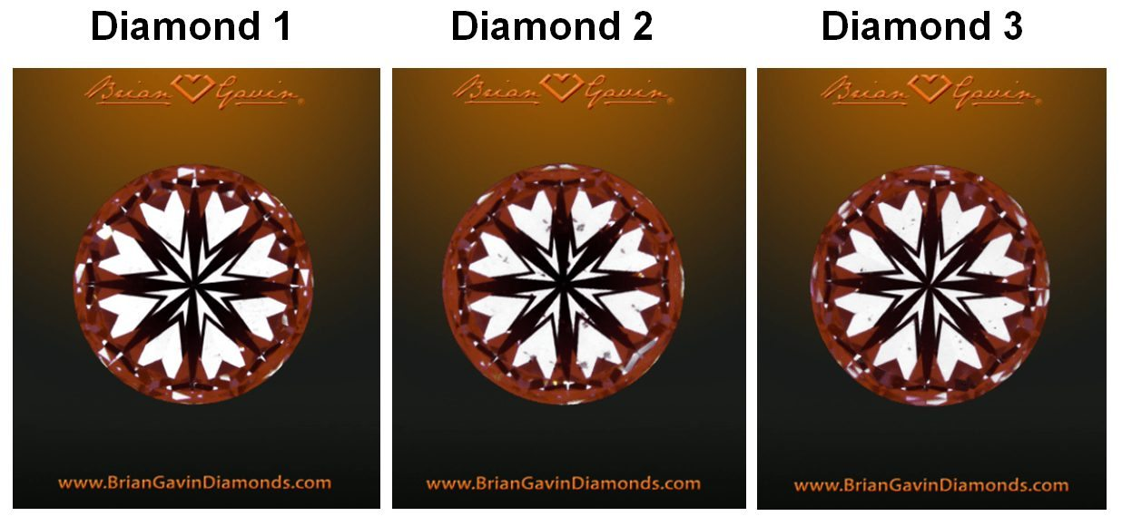 Brian Gavin signature diamonds viewed through a hearts and arrows viewer