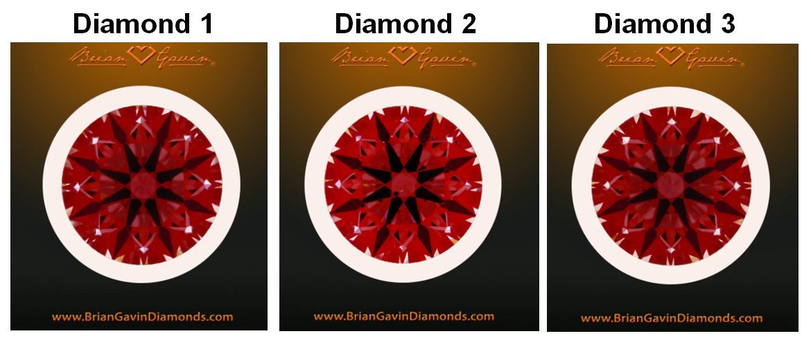 Brian Gavin signature hearts and arrows diamonds Idealscope comparison