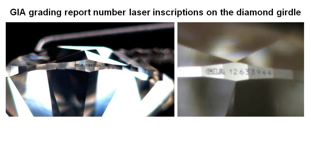 GIA laser inscription on the diamond girdle