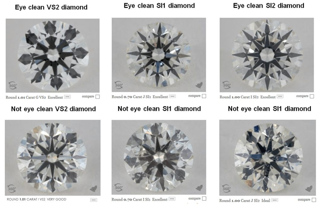 eye-clean and not eye-clean real life diamond examples within the VS2 - SI2 clarity range