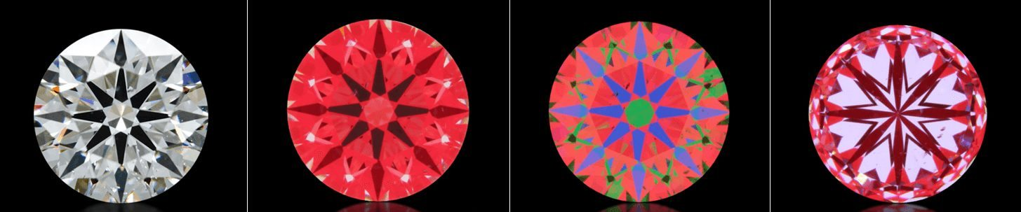 A diamond with an Idealscope image, ASET image and hearts image