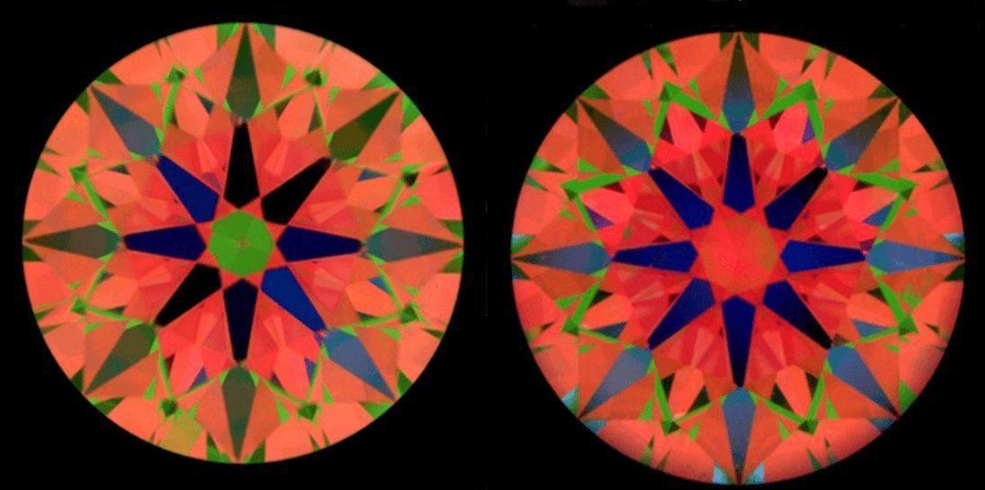ASET images of a diamond with a red centre and a diamond with a green centre