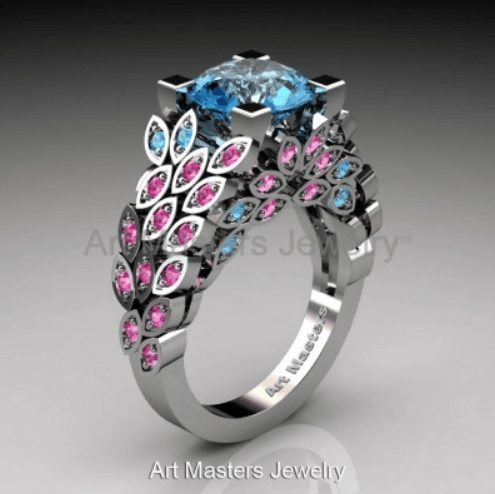 Blue Topaz Pink Sapphire engagement ring