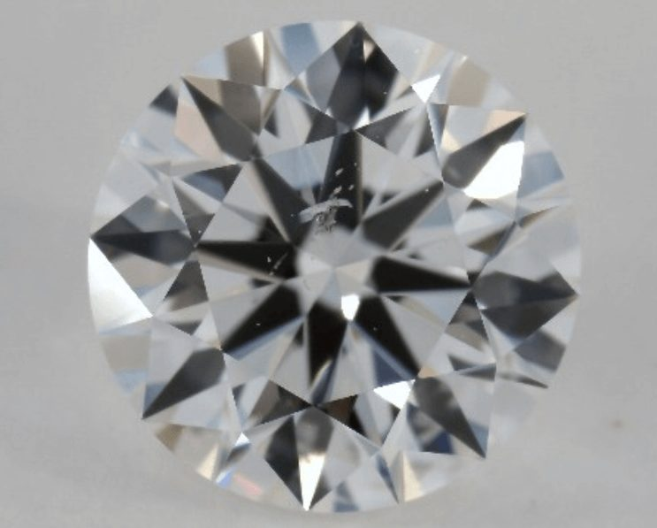Diamond with feather inclusion in the centre