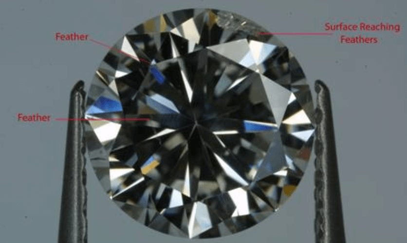 Feather reaching the surface of a diamond in a I1 diamond