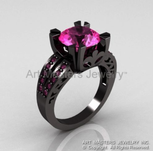 Pink sapphire on black ring setting