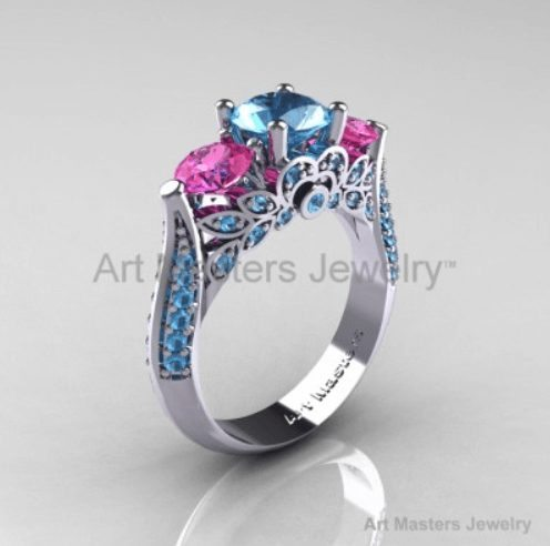 Three Stone Blue Pink Solitaire Ring