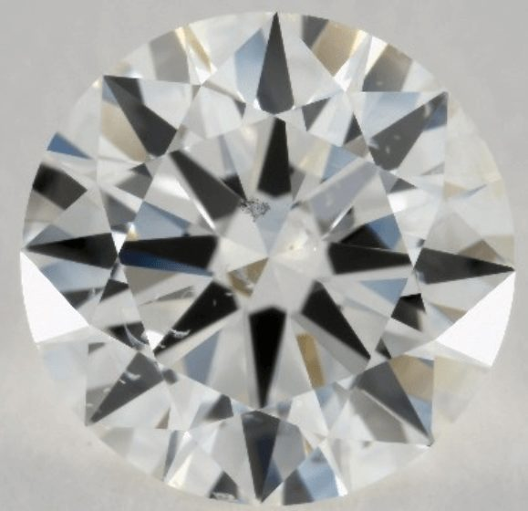 Diamond with a transparent black inclusion
