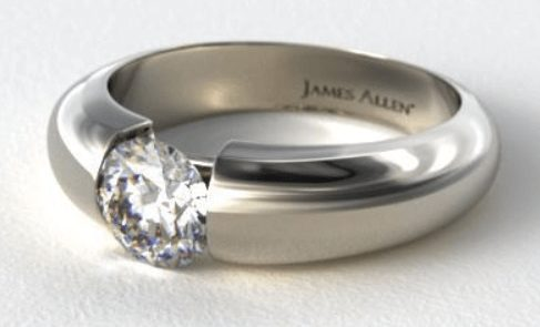 14K White Gold Solitaire Ring Setting