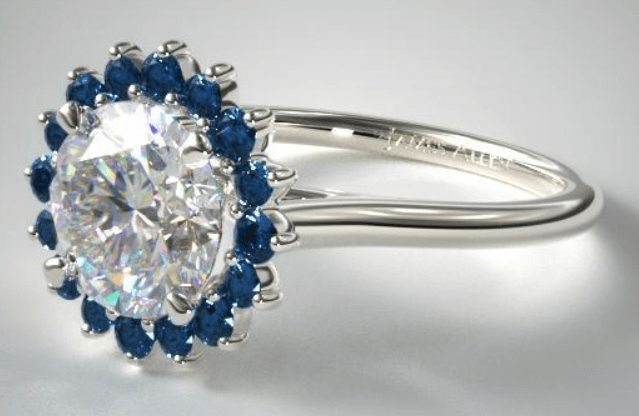 Blue Sapphire Pave Halo Engagement Ring
