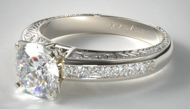 Channel Set Engagement Ring with a princess shaped channel