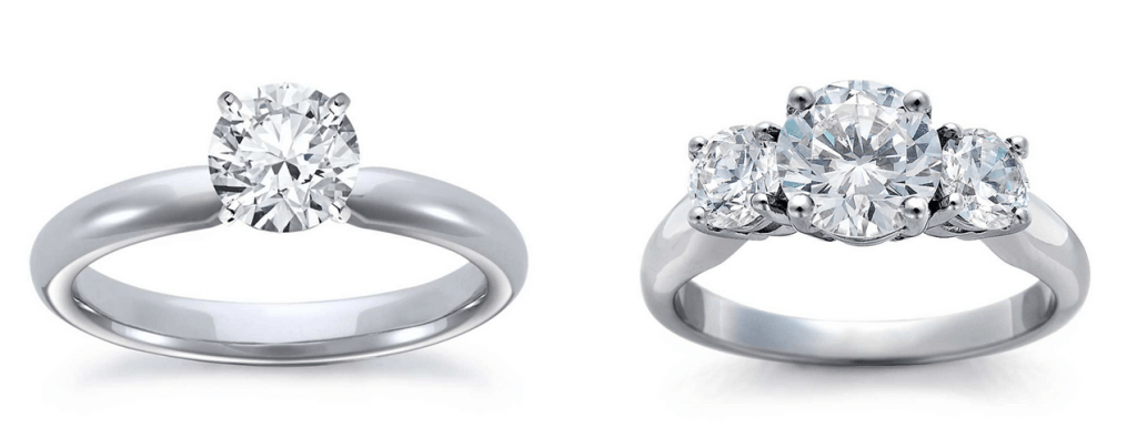 comparison three stone ring setting and solitaire ring setting - Wedding Ring Setting