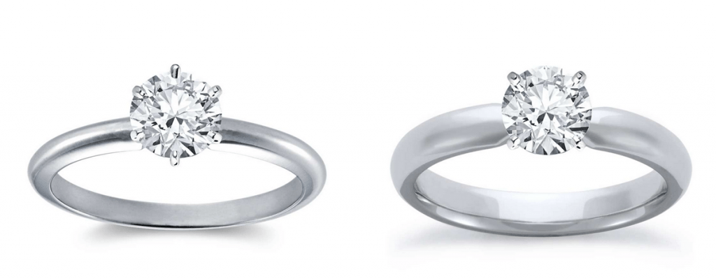 Comparison of a thin and thick solitaire engagement ring setting
