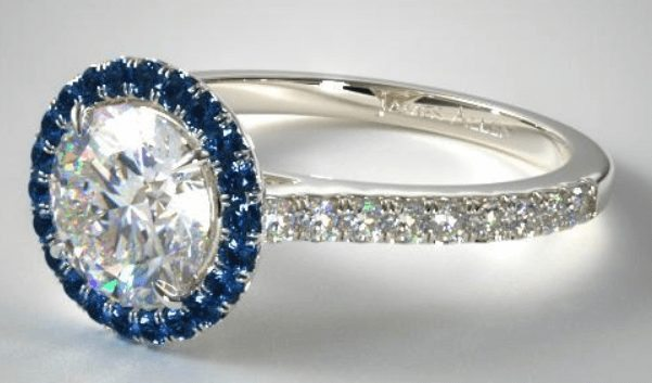 French Blue Sapphire Halo Engagement Ring