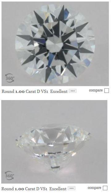 D colored diamond viewed from front and back
