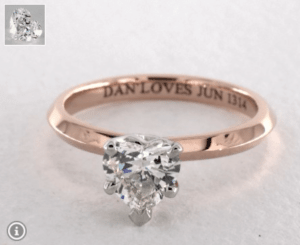 Heart Diamond Shape 0.9ct G-VS2 Ring