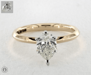 Pear Diamond Shape 0.9ct G-VS2 Ring