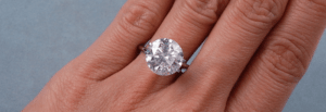 Round Cut Diamonds on finger
