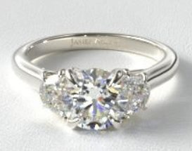 Three Stone Ring Setting with side stone trelis diamonds
