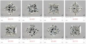 price range for princess cut diamonds in James Allen