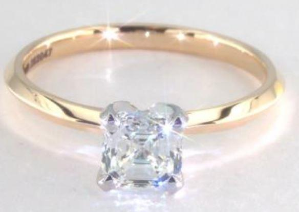 1.00ct I colored VS1 Asscher cut diamond on a Solitaire yellow gold ring setting