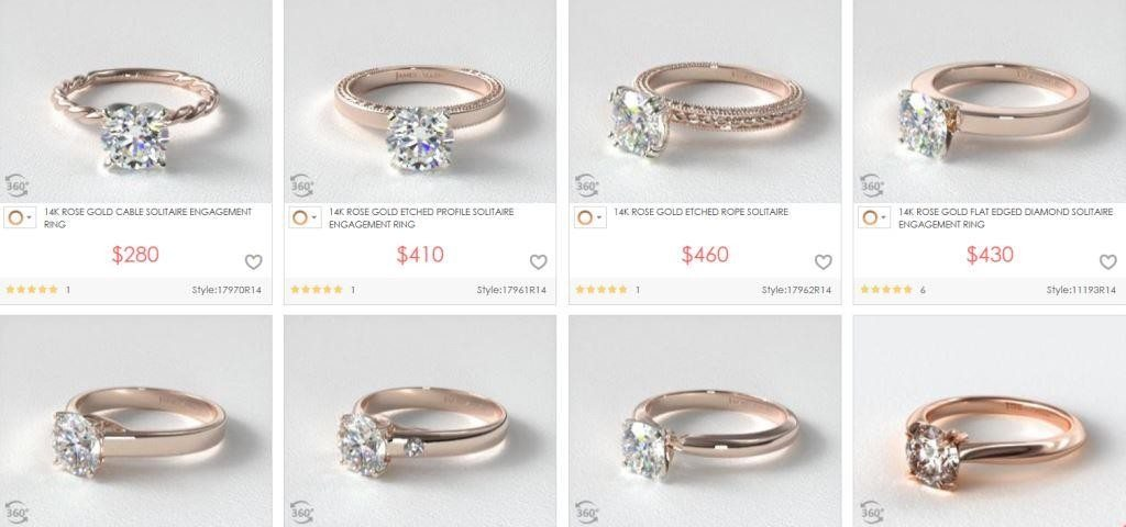 A variety of rose gold ring settings