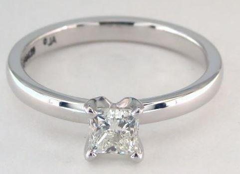 0.51ct I-colored SI1 Princess Cut Diamond on Platinum Ring
