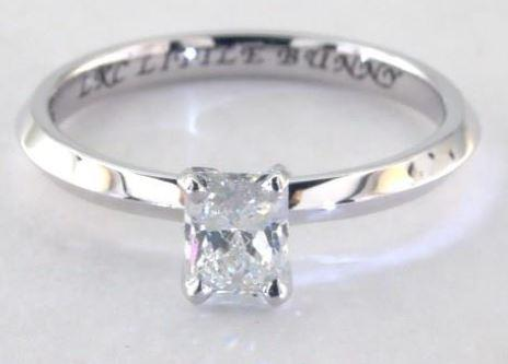 0.5carat H color VS1 Radiand cut Diamond on a Solitaire White Gold Ring