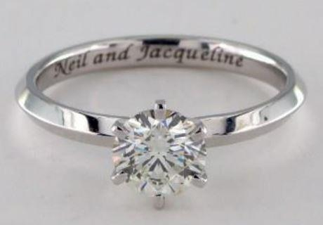 0.75ct J colored VS1 Diamond on Platinum Solitaire Ring Setting