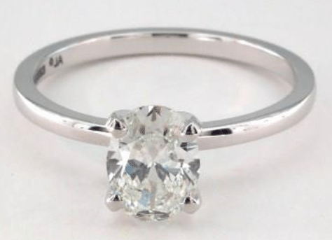 0.96ct H colored VS2 Oval cut Diamond on White Gold