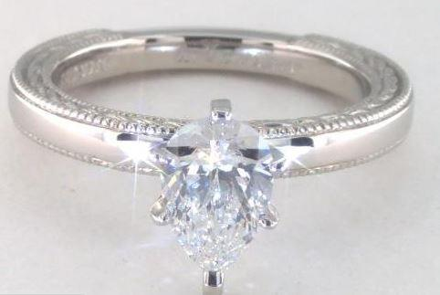 1.01ct H color VVS2 Pear Shaped Diamond on an Etched Profile Solitaire Platinum Ring