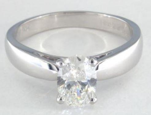 1.02ct H-colored VS2 Oval Cut Diamond on a Platinum Ring