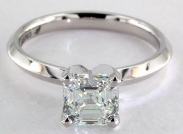 1.03ct I colored VVS2 Asscher Cut Diamond on a Solitaire White Gold Ring Setting