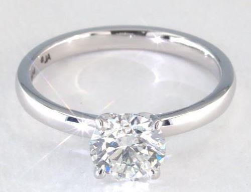 1.11ct H colored SI1 Diamond on Platinum Solitaire Ring Setting