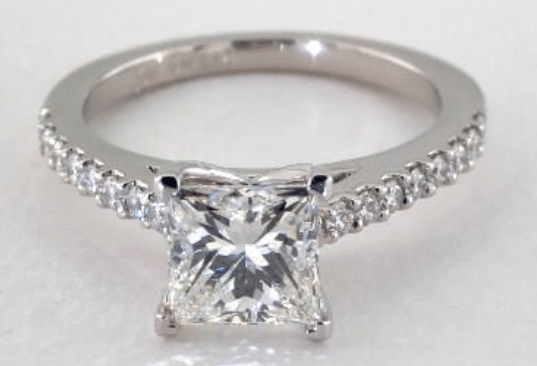 1.21ct I colored VS2 Princess cut Diamond on a White Gold Pave Ring