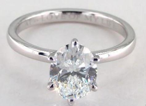 1.51ct F-colored VVS1 Oval Cut Diamond on a Platinum Solitaire Ring