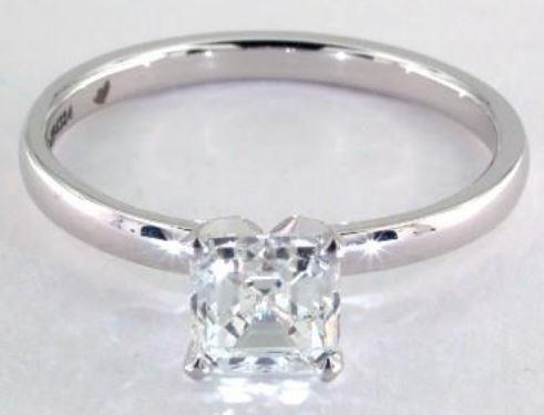 1.51ct I-colored VS1 Asscher Cut Diamond on a Solitaire Platinum Setting