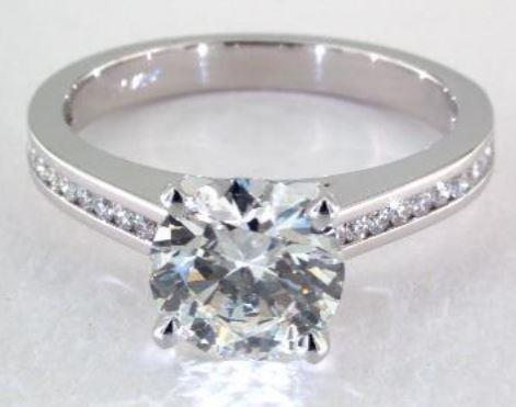 2.00ct J colored SI2 diamond on a Platinum Channel Set Ring