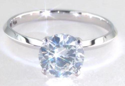 2.00ct J colored SI2 diamond on a Solitaire Platinum Ring