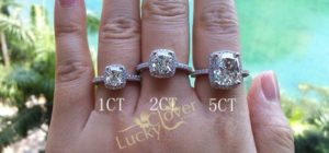 1 carat 2 carats 5 carats diamond rings