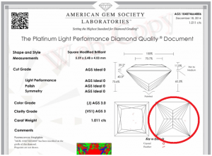 AGS lab report of a princess cut diamond