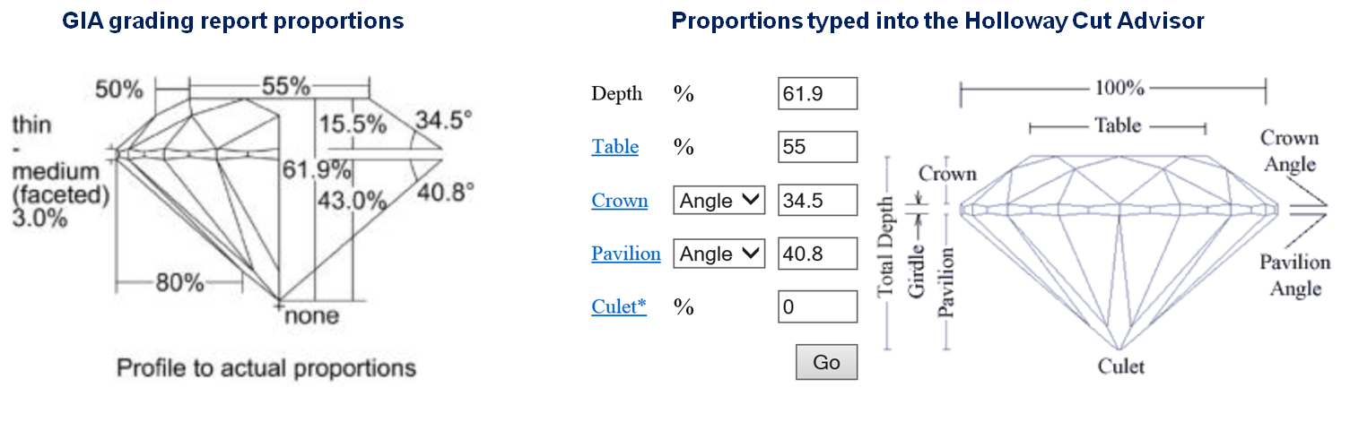 Proportions typed into the Holloway Cut Advisor