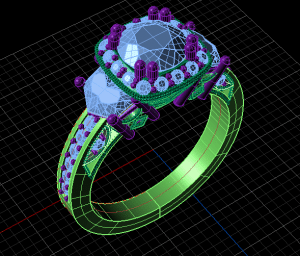 CAD of a custom-made ring setting