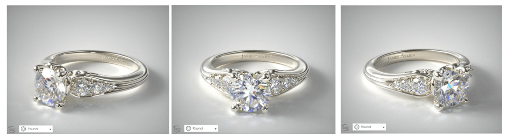 viewing the diamond set upon the ring setting in 360 degree view - Best Place To Buy Wedding Rings