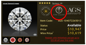 Whiteflash eye-clean evaluation label