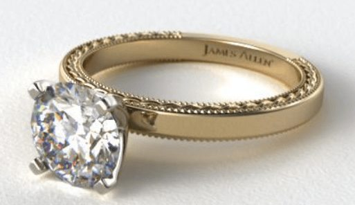 18K yellow gold etched profile solitaire ring