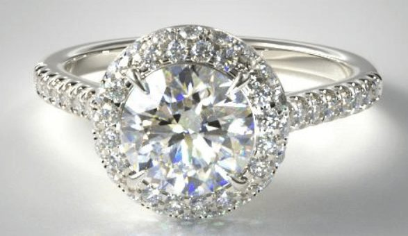 Falling Edge Halo diamond engagement ring