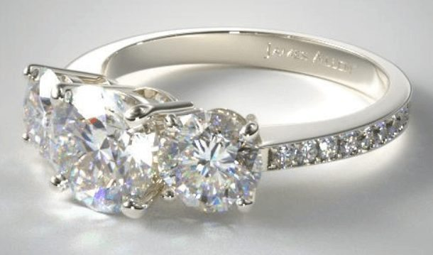 Three Stone Round and pave set diamond engagement ring