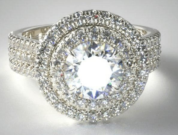 Triple Row Pave Halo Engagement Ring